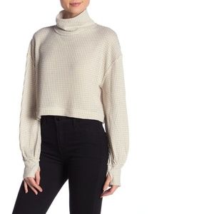 Free People Knit Turtleneck Sweater Top White
